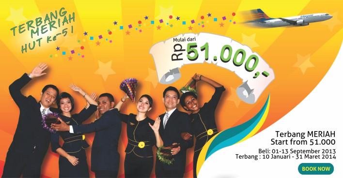 Tiket Promo HUT Merpati Airlines 51, Terbang Meriah 51 ribu